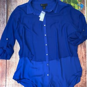 NWT Lane Bryant Two Toned Blue Long Blouse 18/20